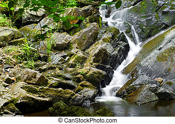 Water Falling Over Rocks - A small, natural waterfall...