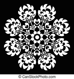 Polish round white folk art pattern - Decorative floral...