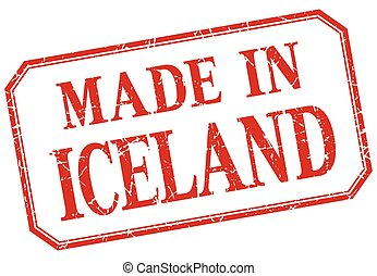 Iceland - made in red vintage isolated label