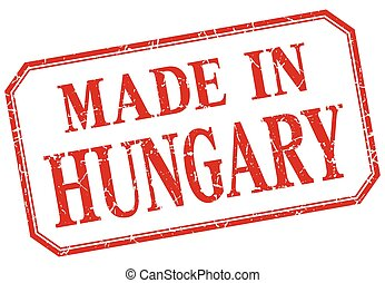 Hungary - made in red vintage isolated label