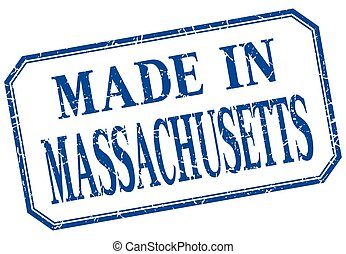 Massachusetts - made in blue vintage isolated label