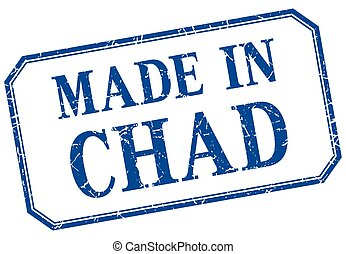 Chad - made in blue vintage isolated label