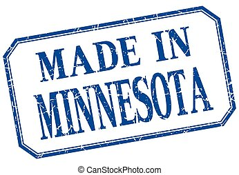 Minnesota - made in blue vintage isolated label