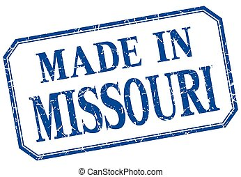 Missouri - made in blue vintage isolated label