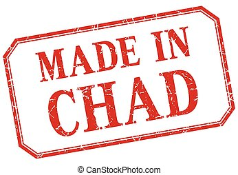 Chad - made in red vintage isolated label