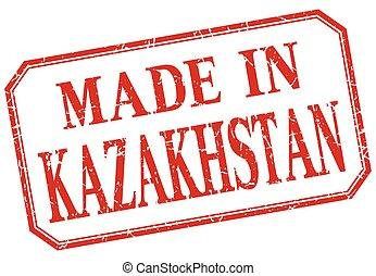 Kazakhstan - made in red vintage isolated label