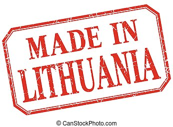Lithuania - made in red vintage isolated label
