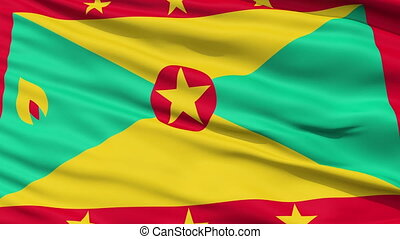 Close Up Waving National Flag of Grenada - Grenada Flag...