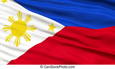 Close Up Waving National Flag of Philippines - Philippines...