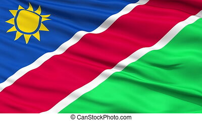 Close Up Waving National Flag of Namibia - Namibia Flag...