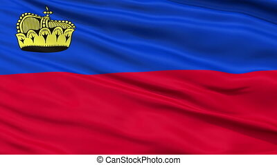 Close Up Waving National Flag of Liechtenstein -...