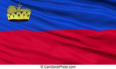 Close Up Waving National Flag of Liechtenstein