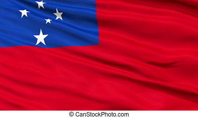 Close Up Waving National Flag of Samoa - Samoa Flag Close Up...