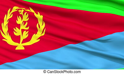 Close Up Waving National Flag of Eritrea - Eritrea Flag...