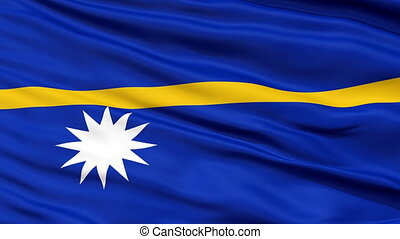 Close Up Waving National Flag of Nauru - Nauru Flag Close Up...