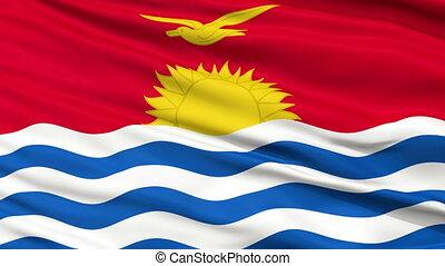Close Up Waving National Flag of Kiribati - Kiribati Flag...
