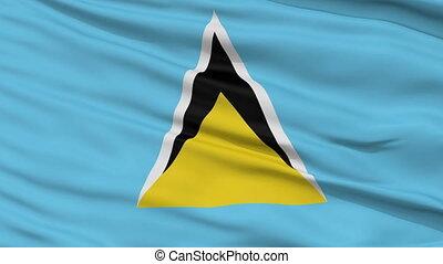 Close Up Waving National Flag of Saint Lucia - Saint Lucia...