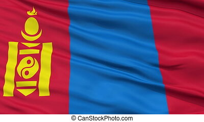 Close Up Waving National Flag of Mongolia - Mongolia Flag...