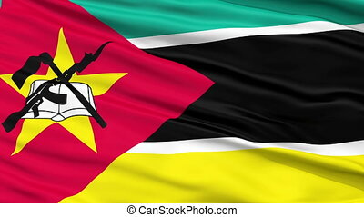 Close Up Waving National Flag of Mozambique