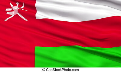 Close Up Waving National Flag of Oman - Oman Flag Close Up...