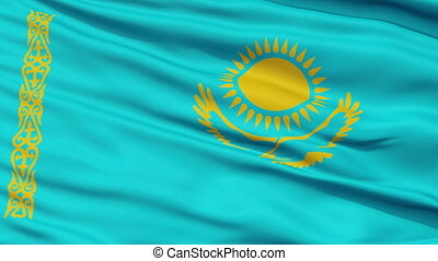 Close Up Waving National Flag of Kazakhstan