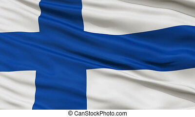 Close Up Waving National Flag of Finland - Finland Flag...