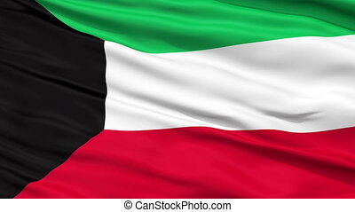 Close Up Waving National Flag of Kuwait - Kuwait Flag Close...