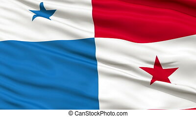 Close Up Waving National Flag of Panama - Panama Flag Close...