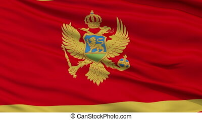 Close Up Waving National Flag of Montenegro - Montenegro...
