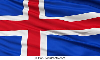 Close Up Waving National Flag of Iceland - Iceland Flag...
