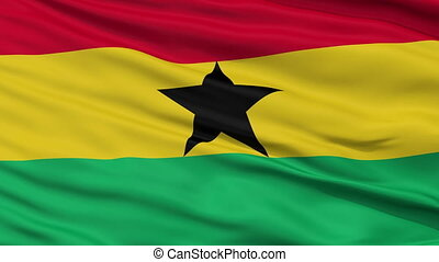 Close Up Waving National Flag of Ghana - Ghana Flag Close Up...