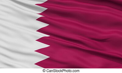 Close Up Waving National Flag of Qatar - Qatar Flag Close Up...
