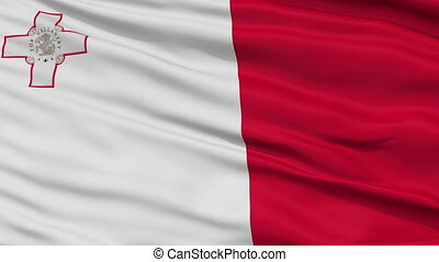 Close Up Waving National Flag of Malta - Malta Flag Close Up...