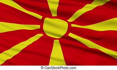 Close Up Waving National Flag of Republic of Macedonia -...