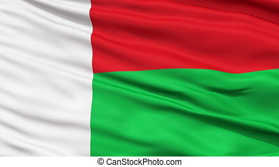Close Up Waving National Flag of Madagascar - Madagascar...