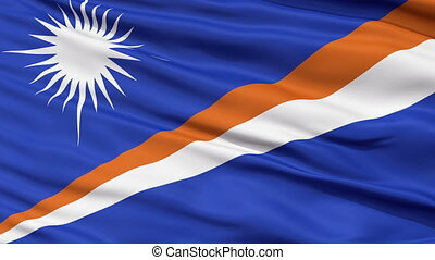 Close Up Waving National Flag of Marshall Islands - Marshall...