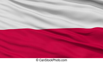 Close Up Waving National Flag of Poland