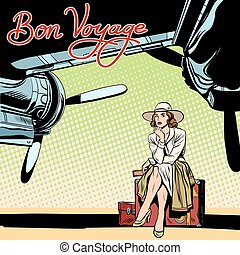 Bon voyage beautiful girl on the runway pop art retro style....