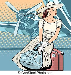 Lady traveler at the airport pop art retro style. Retro...