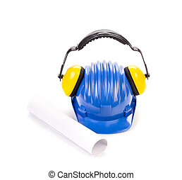 blå, Hjälm, säkerhet, hörlurar