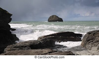 View to sea Trebarwith Strand - View out to sea to Gull Rock...