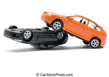 Accident two cars isolated on white background