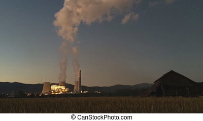 Time lapse Coal power plant with coal-fired power stations...