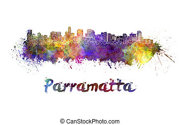 Parramatta skyline in watercolor splatters with clipping...