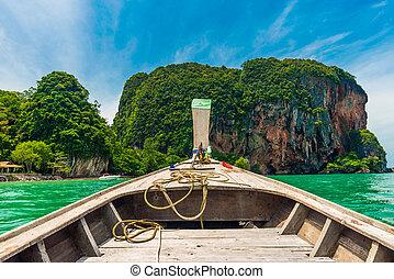 Railay beach Andaman sea blue sky