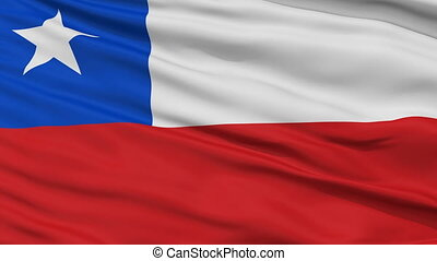 Close Up Waving National Flag of Chile - Chile Flag Close Up...
