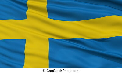 Close Up Waving National Flag of Sweden - Sweden Flag Close...