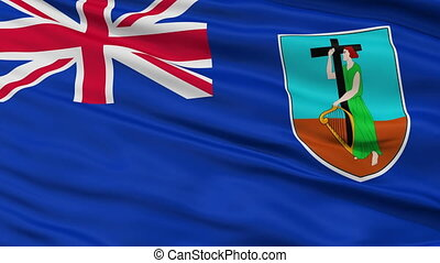 Close Up Waving National Flag of Montserrat - Montserrat...