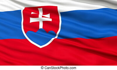 Close Up Waving National Flag of Slovakia - Slovakia Flag...