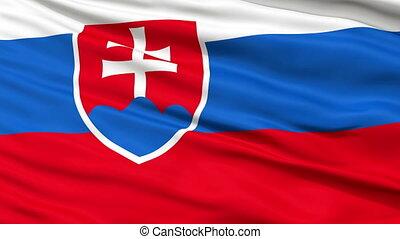 Close Up Waving National Flag of Slovakia - Slovakia Flag...